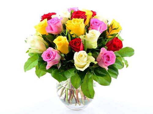 blumenversand blumenstrau zum geburtstag 20 st ck bunt gemischte rosen in guter qualit t. Black Bedroom Furniture Sets. Home Design Ideas