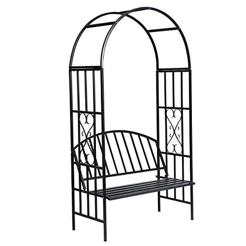 vidaxl rosenbogen mit sitzbank metall gartenbank 210 cm. Black Bedroom Furniture Sets. Home Design Ideas