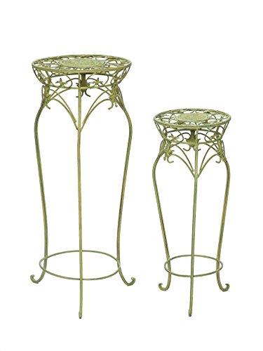 2x blumentisch blumenst nder beistelltisch garten gr n eisen blumens ule floristikvergleich. Black Bedroom Furniture Sets. Home Design Ideas