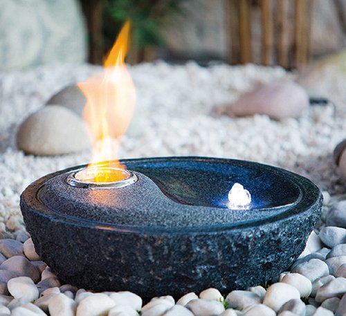 heissner steinbrunnen led bioethanol gartenbrunnen granit. Black Bedroom Furniture Sets. Home Design Ideas