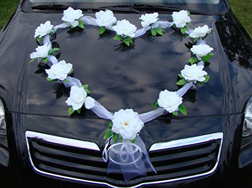 organza herz auto schmuck braut paar rose deko dekoration autoschmuck hochzeit car auto wedding. Black Bedroom Furniture Sets. Home Design Ideas