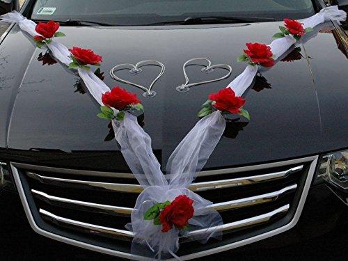 organza m herzen auto schmuck braut paar rose deko dekoration autoschmuck hochzeit car auto. Black Bedroom Furniture Sets. Home Design Ideas